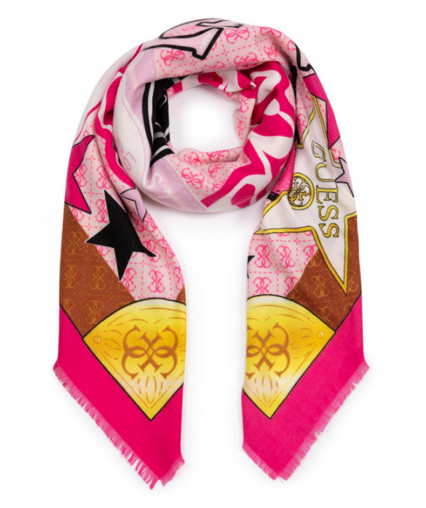 COLOURFUL SCARF GUESS PINK